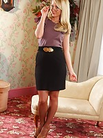 Beautiful secretary makes a real treat and removes her smart outfit.